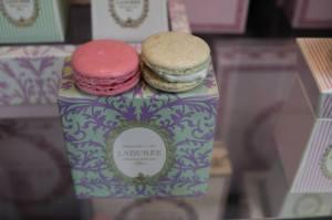 Raspberry & Vanilla Macarons on Display @ Laduree