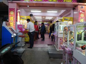 Claw machines were everywhere at this night market